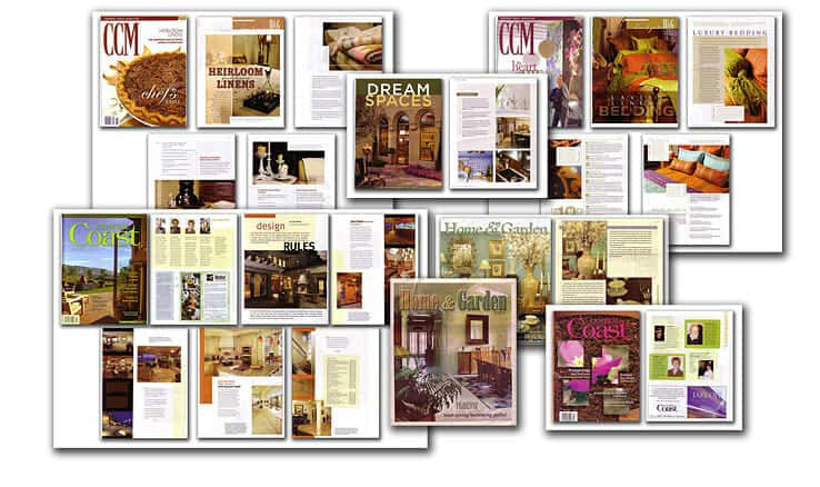 Photo Collage showing magazine and newspaper articles by Interior Designer Jan Kepler